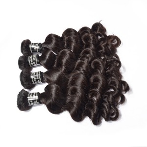 Natural Raw Unprocessed Indian Hair Human Hair Weaving Remy Hair Loose Wave For 5 Bundles