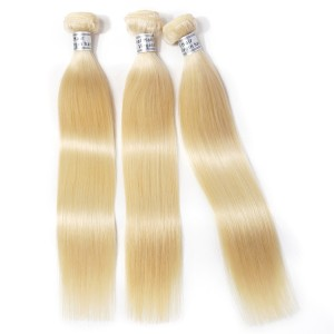 The European Hair 613 Blonde Straight Human Hair For 5 Bundles