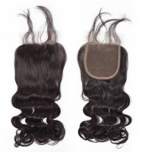 4*4 Mink Human Virgin Hair Ideal Lace Human Closure Hair Loose Wave