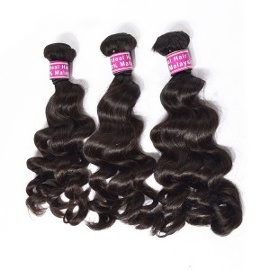 Grade 6A Natural Black Malaysian Loose Wave Human Hair Weave