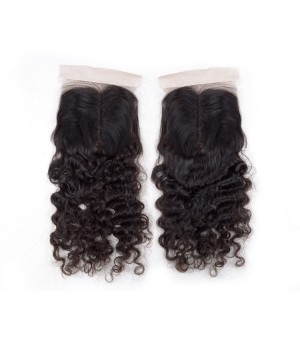 Brazilian Hair Curly Wave Middle Part Lace Closure Real Human Hair 4×4